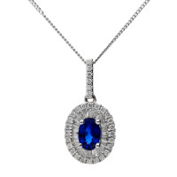 Pre-Owned 0.59ct Sapphire & Diamond Cluster Pendant