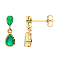 9ct Yellow Gold Emerald Double Drop Pear Shape Earrings