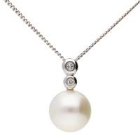 9ct White Gold Pearl & Diamond Pendant