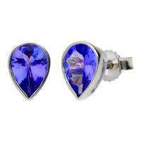9ct White Gold 1.25ct Tanzanite Solitare Stud Earrings