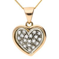 Handcrafted Italian 0.25ct Diamond Heart Cluster Pendant