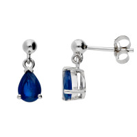 9ct White Gold 7mm Sapphire Solitaire Pear Shape Drop Earrings