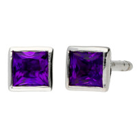 9ct White Gold 3mm Amethyst Solitaire Square Shape Stud Earrings