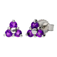 9ct White Gold 0.25ct Amethyst Floral Cluster Earrings