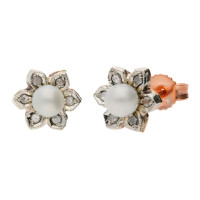 Handcrafted Italian 9ct Rose Gold Diamond & Pearl Flower Earrings
