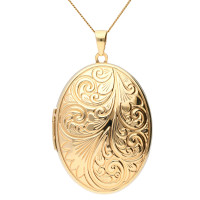 9ct Yellow Gold 35mm Oval Patterned Family Four Gallery Locket