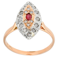 Handcrafted Italian Ruby & Diamond Cluster Ring