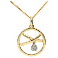 9ct Yellow Gold Fancy Diamond Pendant