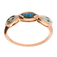 Handcrafted Italian 9ct Rose Gold Sapphire & Diamond Ring