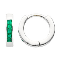 9ct White Gold Emerald Hinged Hoop Earrings