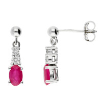 9ct White Gold Oval Shape Ruby & Diamond Fancy Drop Earrings