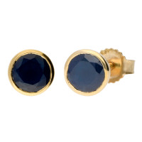 9ct Yellow Gold 1.50ct Round Sapphire Solitaire Stud Earrings