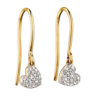 9ct Yellow Gold Diamond Heart Drop Earring