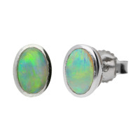 9ct White Gold 6mm Opal Solitaire Oval Shape Stud Earrings