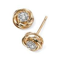 9ct Yellow Gold Diamond Cluster Earrings