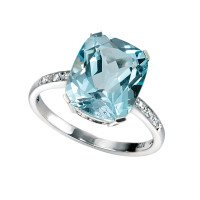 9ct White Gold Topaz & Diamond Dress Ring
