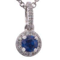 18ct White Gold Sapphire & Diamond Halo Pendant