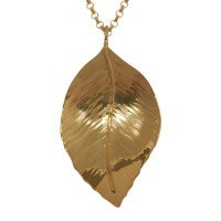 Sterling Silver & Yellow Gold Vermeil Large Beech Leaf Pendant
