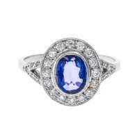 Vintage 1930's 18ct White Gold 1.01ct Sapphire & Diamond Dress Ring