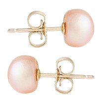 9ct Gold 6mm Freshwater Lilac Button Pearl Earrings