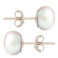 Silver 8mm Freshwater Silver Button Pearl Earrings