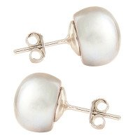 Silver 10mm Freshwater Silver Button Pearl Earrings