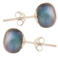 Silver 8mm Freshwater Black Button Pearl Earrings
