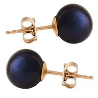 9ct Gold 8mm Freshwater Black Pearl Earrings