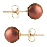9ct Gold 7mm Freshwater Brown Pearl Earrings