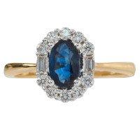 18ct Gold 0.57ct Sapphire & Diamond Cluster Ring