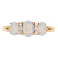18ct Yellow Gold Opal & Diamond Dress Ring