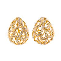 18ct Gold & Diamond Whispering Large Hollow Tear Earrings