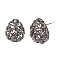 18ct White Gold & Diamond Whispering Large Hollow Tear Earrings