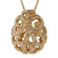 18ct Gold & Diamond Whispering Large Hollow Tear Pendant