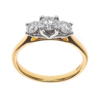 The Classic Collection 18ct Gold 0.50ct Diamond Trilogy Ring