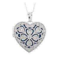 Silver & Cubic Zirconia Heart Locket
