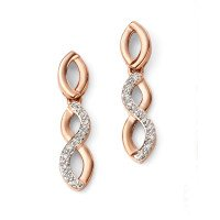 9ct Rose Gold & Diamond Twist Drop Earrings