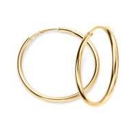 9ct Yellow Gold 15mm Sleeper Hoop Earrings
