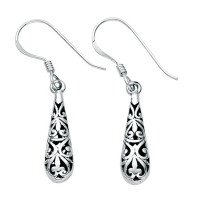 Sterling Silver Small Filigree Drop Earrings