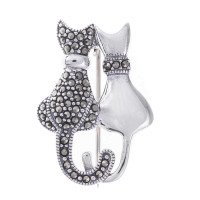 Sterling Silver Marcasite Partners Cat Brooch