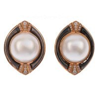 Art Deco Style 13.5mm Mabe Pearl & Diamond Earrings