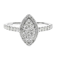 9ct White Gold 0.50ct Diamond Navette Cluster Ring