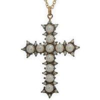 Pearl & Diamond Cross Pendant