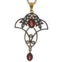 Garnet, Diamond & Pearl Pendant