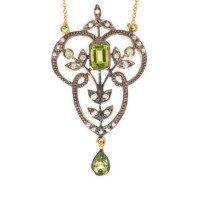 Peridot, Seed Pearl & Diamond Necklet