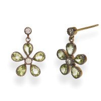 Georgian Inspired Peridot & Diamond Flower Drop Earrings