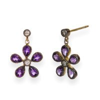 Georgian Inspired Amethyst & Diamond Flower Drop Earrings