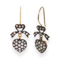Edwardian Inspired Seed Pearl & Diamond Heart Earrings