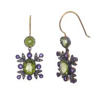 Edwardian Inspired Peridot, Amethyst & Diamond Drop Earrings