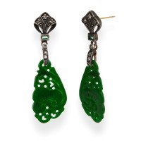 Jadeite, Emerald & Diamond Drop Earrings